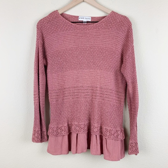 Knox Rose mauve colored sweater rayon underlay